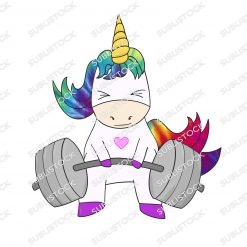 Rainbow Tye-Dye Powerlifting Unicorn with heart